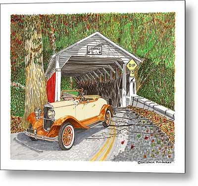 1929 Chrysler 65 Covered Bridge Metal Print by Jack Pumphrey