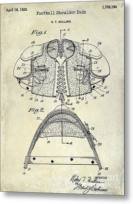 1929 Football Shoulder Pads Patent Drawing Metal Print by Jon Neidert