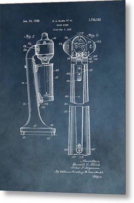 1930 Drink Mixer Patent Blue Metal Print by Dan Sproul