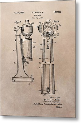 1930 Drink Mixer Patent Metal Print by Dan Sproul