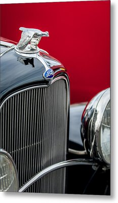 1932 Ford V8 Grille - Hood Ornament Metal Print by Jill Reger