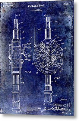1933 Fishing Reel Patent Drawing Metal Print by Jon Neidert
