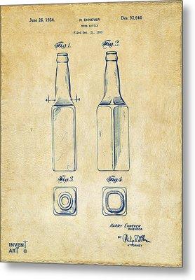 1934 Beer Bottle Patent Artwork - Vintage Metal Print by Nikki Marie Smith