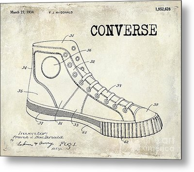 1934 Converse Shoe Patent Drawing Metal Print by Jon Neidert