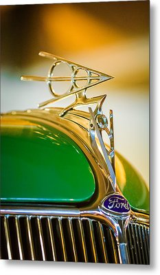 1936 Ford Deluxe Roadster Hood Ornament Metal Print by Jill Reger