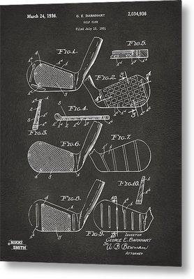 1936 Golf Club Patent Artwork - Gray Metal Print by Nikki Marie Smith