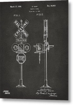 1936 Rail Road Crossing Sign Patent Artwork - Gray Metal Print by Nikki Marie Smith