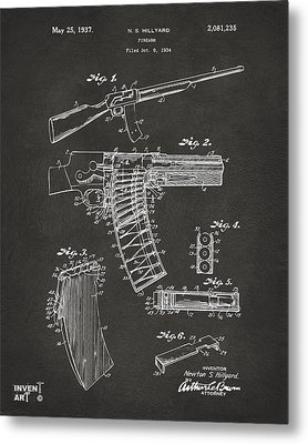 1937 Police Remington Model 8 Magazine Patent Artwork - Gray Metal Print by Nikki Marie Smith