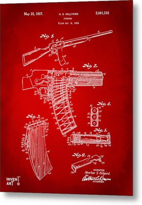 1937 Police Remington Model 8 Magazine Patent Artwork - Red Metal Print by Nikki Marie Smith