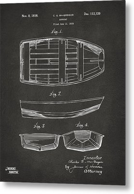 1938 Rowboat Patent Artwork - Gray Metal Print by Nikki Marie Smith