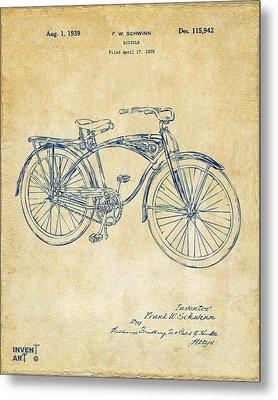 1939 Schwinn Bicycle Patent Artwork Vintage Metal Print by Nikki Marie Smith