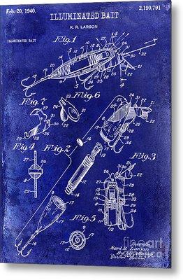 1940 Illuminated Bait Patent Drawing Metal Print by Jon Neidert