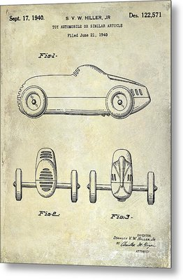 1940 Toy Car Patent Drawing Metal Print by Jon Neidert