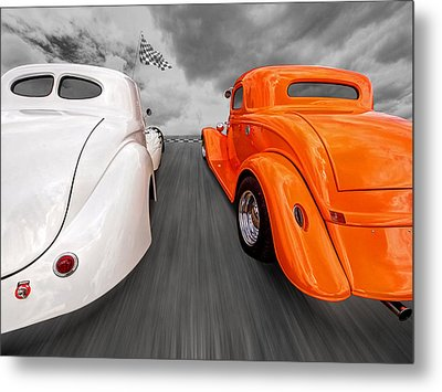 1941 Willys Vs 1934 Ford Coupe Metal Print by Gill Billington