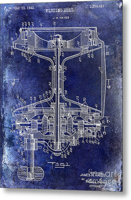1942 Fishing Reel Patent Drawing Blue Metal Print by Jon Neidert