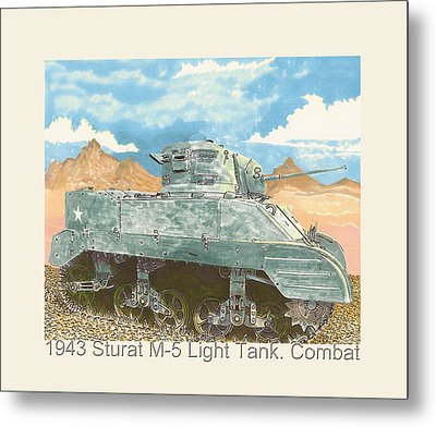 1943 Stuart M-5 Light Tank Combat Metal Print by Jack Pumphrey