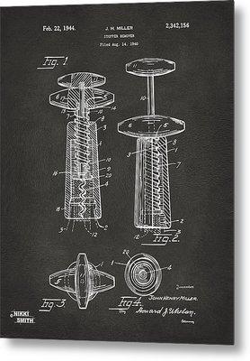 1944 Wine Corkscrew Patent Artwork - Gray Metal Print by Nikki Marie Smith