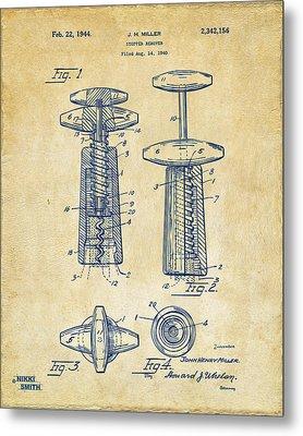 1944 Wine Corkscrew Patent Artwork - Vintage Metal Print by Nikki Marie Smith