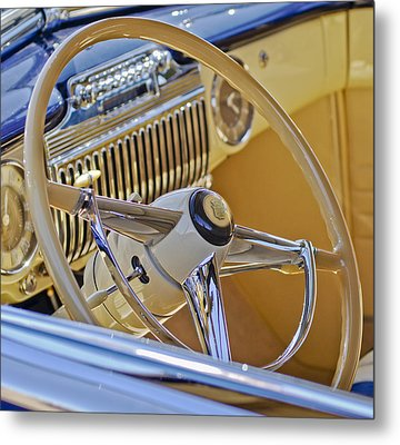 1947 Cadillac 62 Steering Wheel Metal Print by Jill Reger
