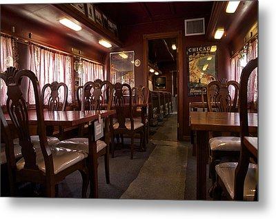 1947 Pullman Railroad Car Dining Room Metal Print by Thomas Woolworth