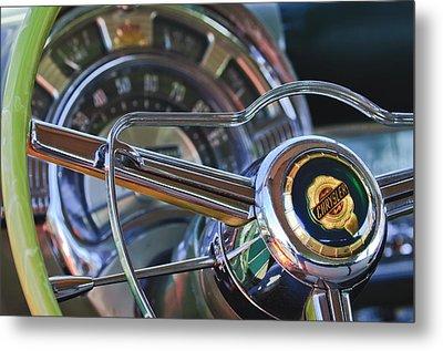 1950 Chrysler New Yorker Coupe Steering Wheel Emblem Metal Print by Jill Reger