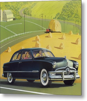 1950 Custom Ford - Square Format Image Picture Metal Print by Walt Curlee
