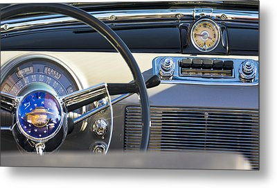 1950 Oldsmobile Rocket 88 Steering Wheel 3 Metal Print by Jill Reger