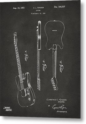 1951 Fender Electric Guitar Patent Artwork - Gray Metal Print by Nikki Marie Smith