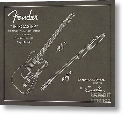 1951 Fender Telecaster Guitar Patent Art In White Chalk On Gray  Metal Print by Nishanth Gopinathan