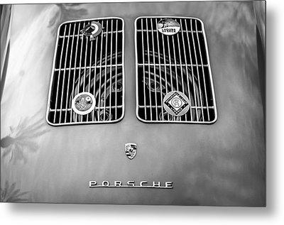 1954 Porsche Spyder Rear Emblem -0042bw Metal Print by Jill Reger