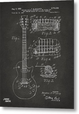 1955 Mccarty Gibson Les Paul Guitar Patent Artwork - Gray Metal Print by Nikki Marie Smith