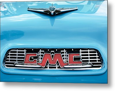 1956 Gmc 100 Deluxe Edition Pickup Truck Hood Ornament - Grille Emblem Metal Print by Jill Reger