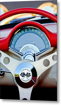 1957 Chevrolet Corvette Convertible Steering Wheel Metal Print by Jill Reger