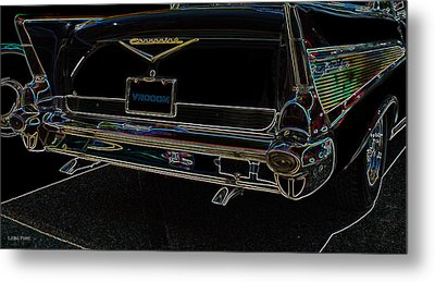 1957 Chevrolet Rear View Art Black_varooom Tag Metal Print by Lesa Fine