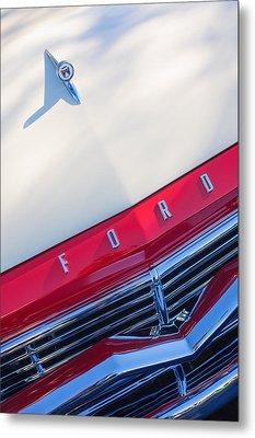 1957 Ford Custom 300 Series Ranchero Hood Ornament - Emblem Metal Print by Jill Reger