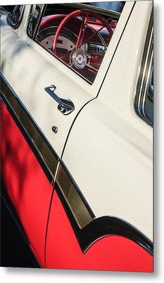 1957 Ford Custom 300 Series Ranchero Steering Wheel Metal Print by Jill Reger
