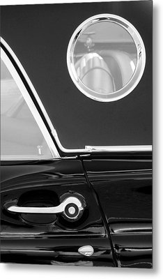1957 Ford Thunderbird Window Black And White Metal Print by Jill Reger