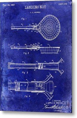 1957 Landing Net Patent Drawing Blue Metal Print by Jon Neidert