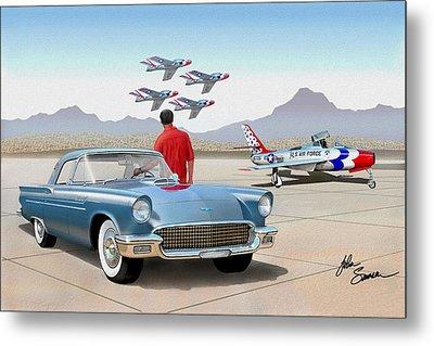 1957 Thunderbird  With F84 Thunderbirds  Azure Blue  Classic Rendering  Metal Print by John Samsen