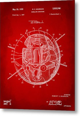 1958 Space Satellite Structure Patent Red Metal Print by Nikki Marie Smith