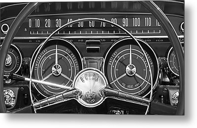 1959 Buick Lasabre Steering Wheel Metal Print by Jill Reger