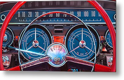 1959 Buick Lesabre Steering Wheel Metal Print by Jill Reger