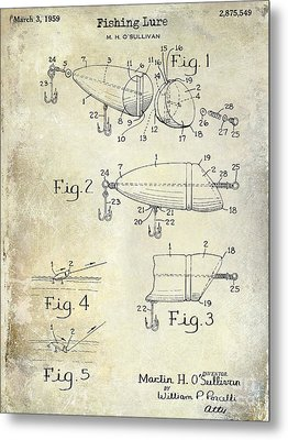 1959 Fish Lure Patent Drawing  Metal Print by Jon Neidert