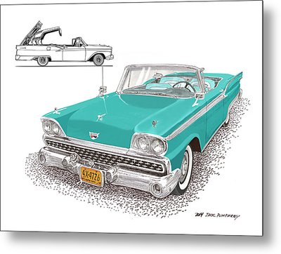 1959 Ford 500 Fairlane Retractable Hard Top Metal Print by Jack Pumphrey