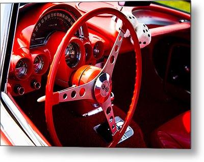 1959 Red Chevy Corvette Metal Print by David Patterson