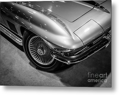 1960's Corvette C2 In Black And White Metal Print by Paul Velgos