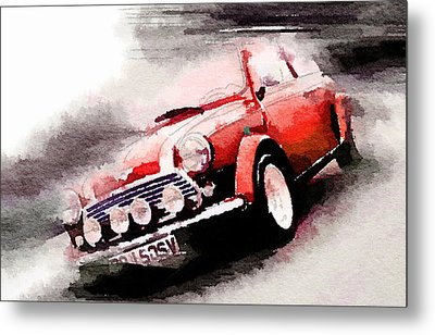 1963 Austin Mini Cooper Watercolor Metal Print by Naxart Studio