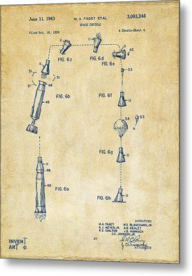 1963 Space Capsule Patent Vintage Metal Print by Nikki Marie Smith