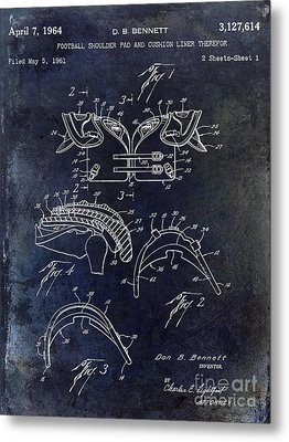 1964 Football Shoulder Pads Patent Blue Metal Print by Jon Neidert