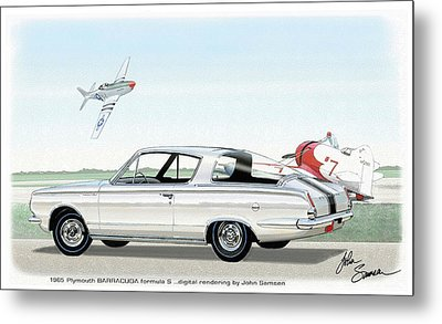 1965 Barracuda  Classic Plymouth Muscle Car Metal Print by John Samsen